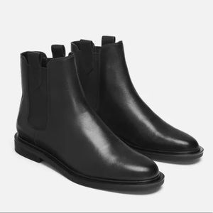 Zara Chelsea ankle boot black leather 36/5.5